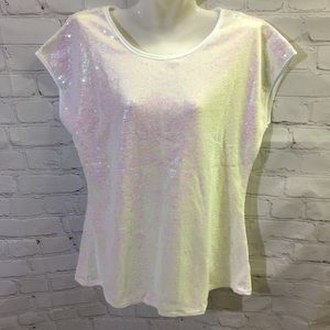 3/$25 Lecceca Pearl White Fully Sequined Top